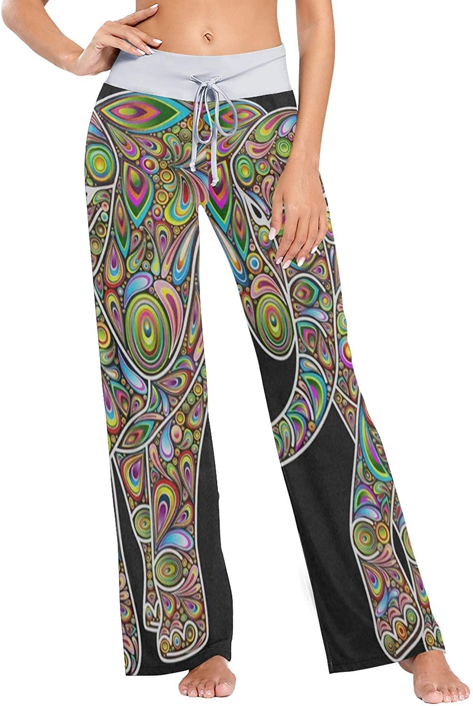 BEVRRY Women's Fashion Yoga Pants Palazzo Casual Print Wide Leg Lounge Pants Comfy Casual Drawstring Long Pajama Pants