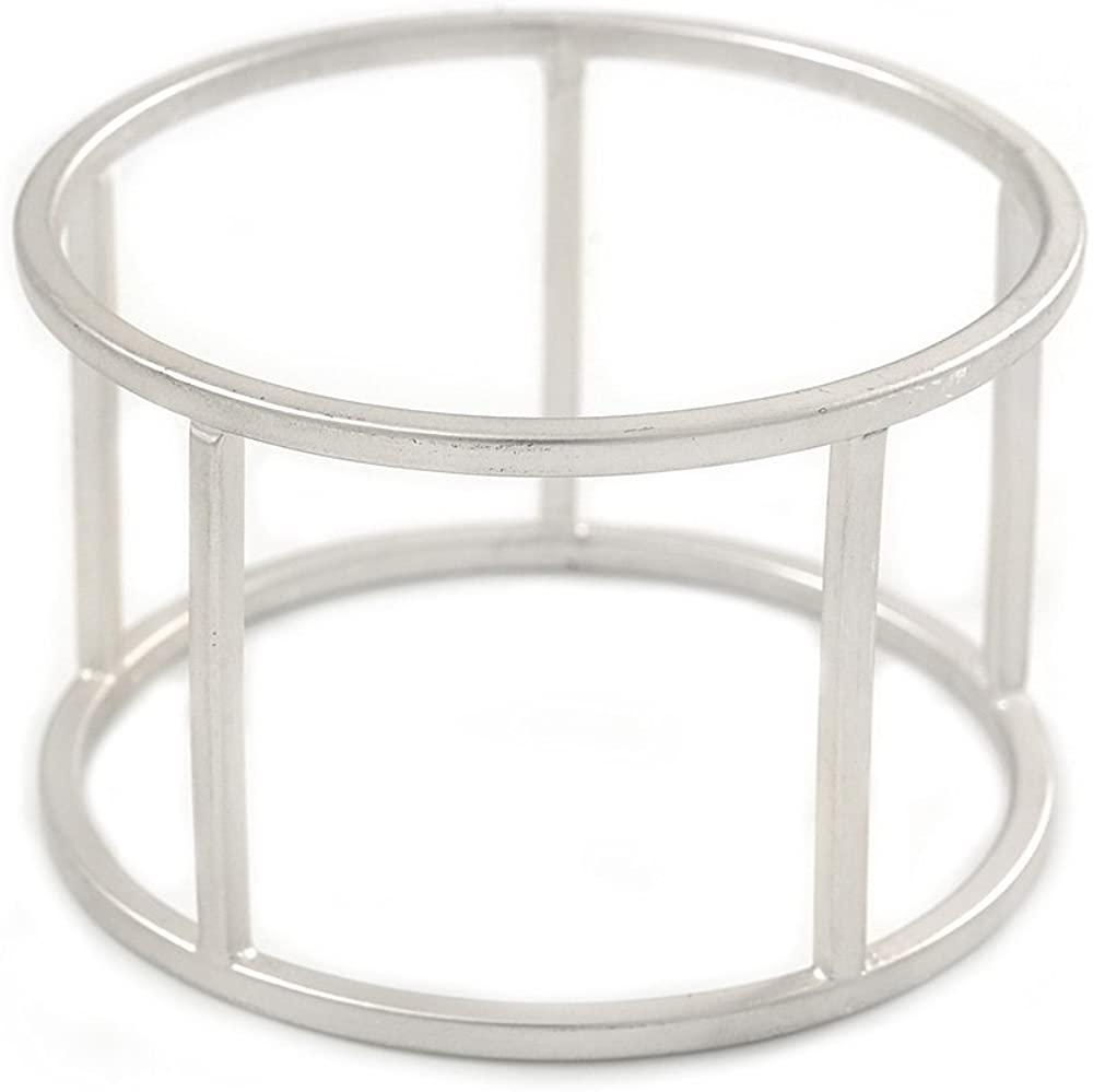 Avalaya Matte Silver Tone Round Frame Slip On Bangle Bracelet - 19cm L