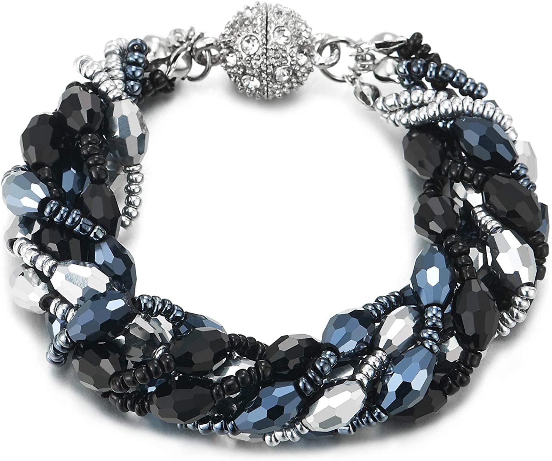 COOLSTEELANDBEYOND Dark Blue Silver Black Crystal Beads Multi-Strand Bracelet with Rhinestone Ball Charm Magnetic Clasp