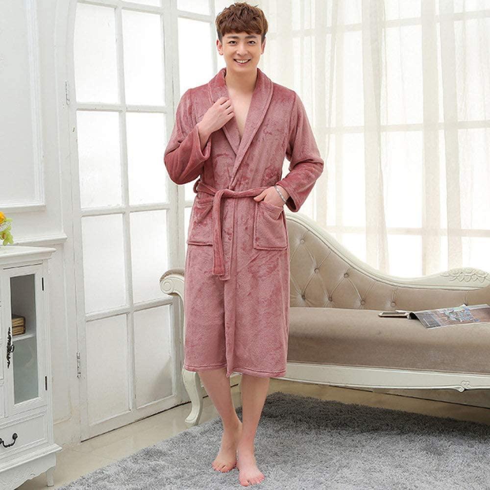 llwannr Bathrobe Robe Nightgown Sleep,Womens Men Luxury Grey Kimono Bath Robe Long Silk Flannel Coral Bathrobe Women Bridesmaid Robes Dressing Gown,Men Cameo Brown,XXL