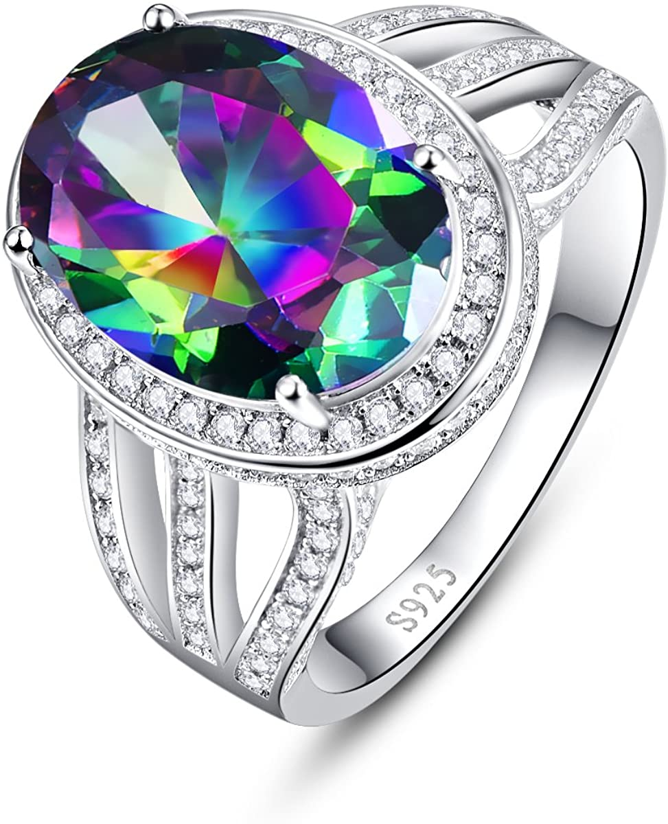 BONLAVIE 925 Sterling Silver Engagement Ring with 10x14mm Oval Cut Created Mystic Rainbow Topaz White Cubic Zirconia cz Promise Rings for her