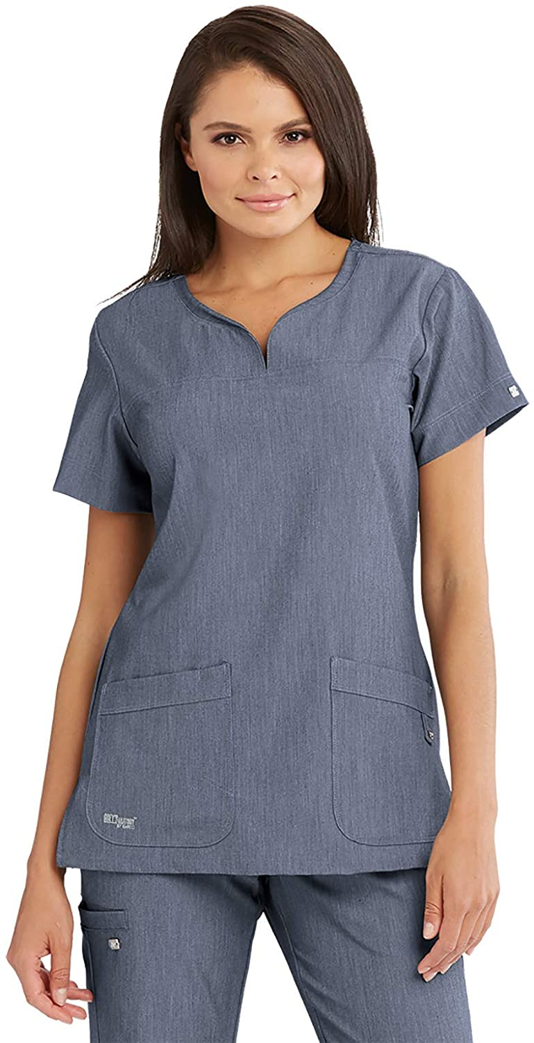 BARCO Grey's Anatomy Signature 2121 Women's Two Pocket Notch Yoke Neck Scrub Top Denim Shade M
