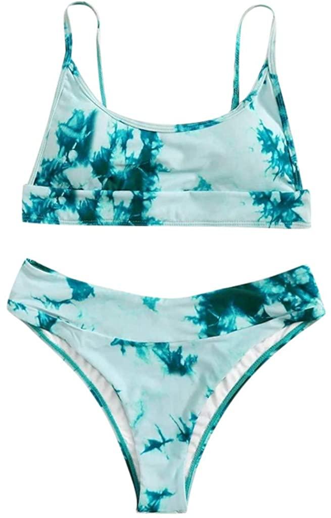 aihihe Women 's Halter Bikini Swimsuit Two Piece Tie Dye Tie Side Bottom Triangle Bikini Sets Swimwear Bathing Suits