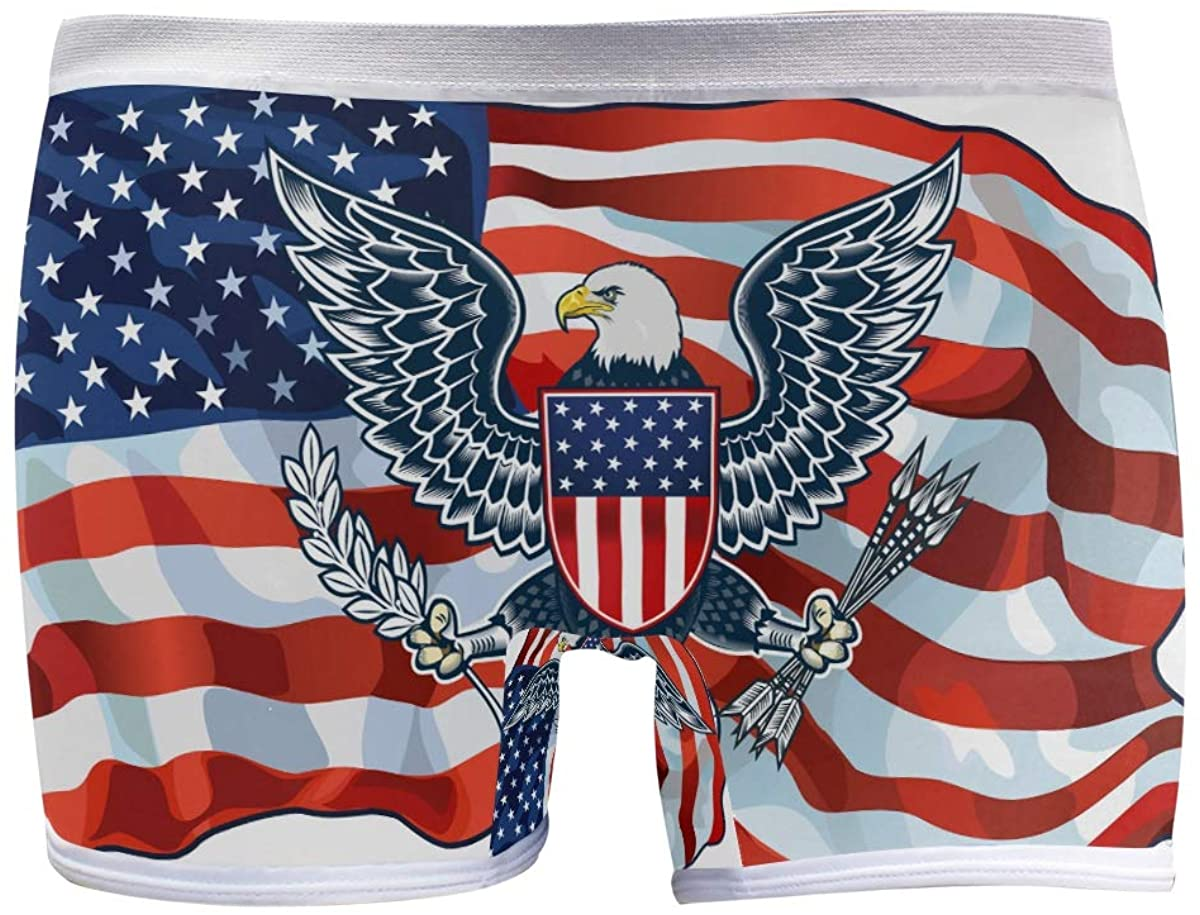 SLHFPX Womens Underwear Boy Shorts Panties Inspiring American Flag Eagle Ladies Comfort Boy Shorts Panty