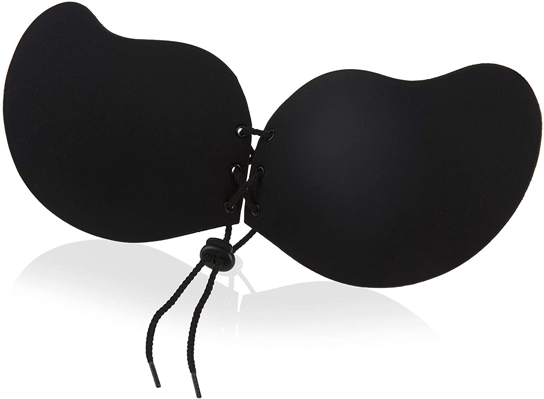Rose LeMarc Intimates Strapless Mango Drawstring Push up Adhesive Backless Lift Bra for Women, Black