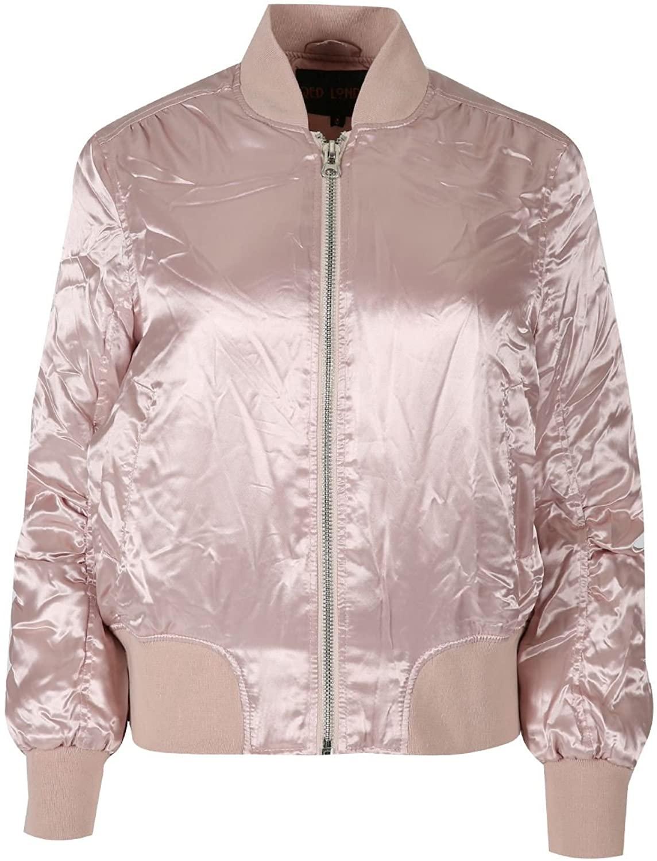 Oops Outlet Women's Shiny Ma1 Full Sleeve Zip Up Baseball Pockets Bomber Jacket