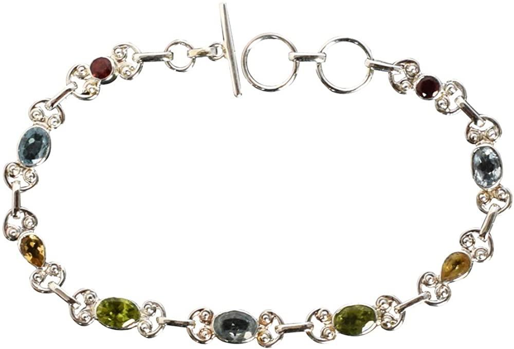 Ravishing Impressions Garnet, Citrine, Blue Topaz, Peridot 925 Sterling Silver Bracelet for Women FSJ-959