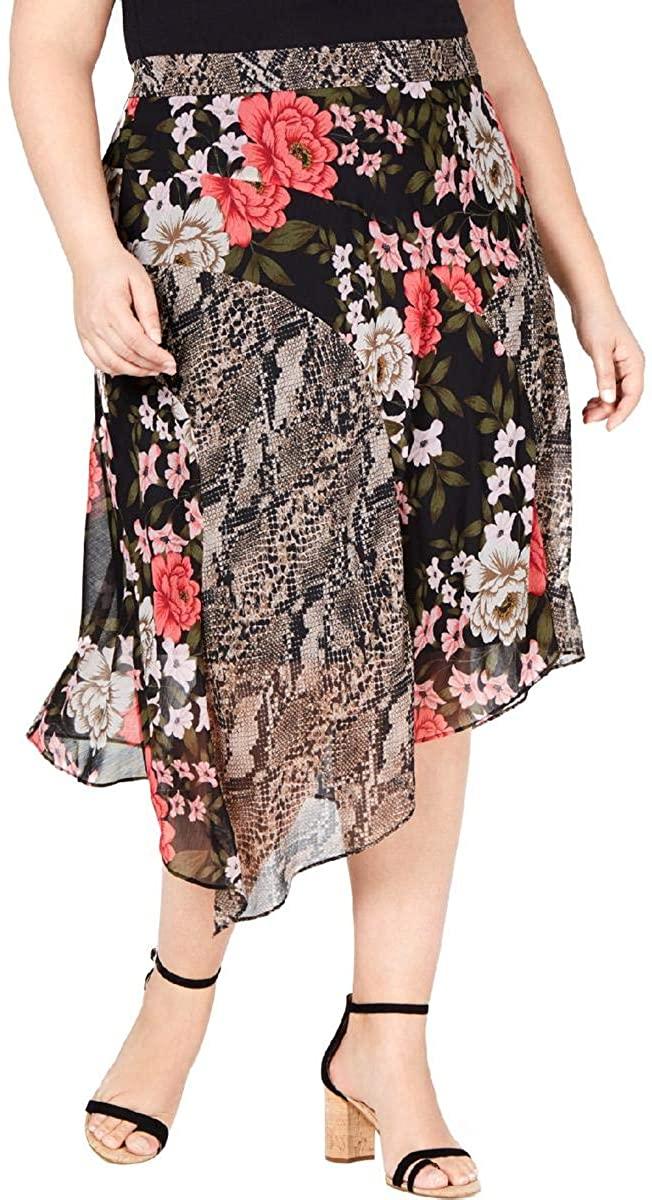 INC International Concepts Women's Plus Size Mix-Print Floral Midi Skirt