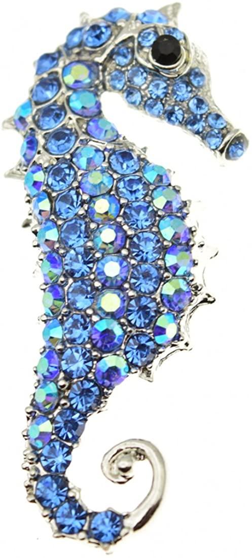 Yilanair Vintage Muilticolor Crystal Rhinestone Seahorse Brooch Pin Jewelry for Dress Wedding