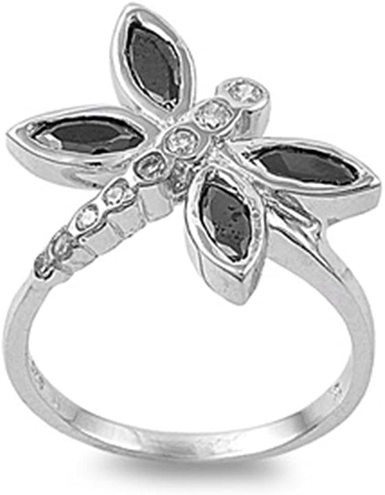Glitzs Jewels Sterling Silver Dragonfly Ring, 20mm Choose Your Color