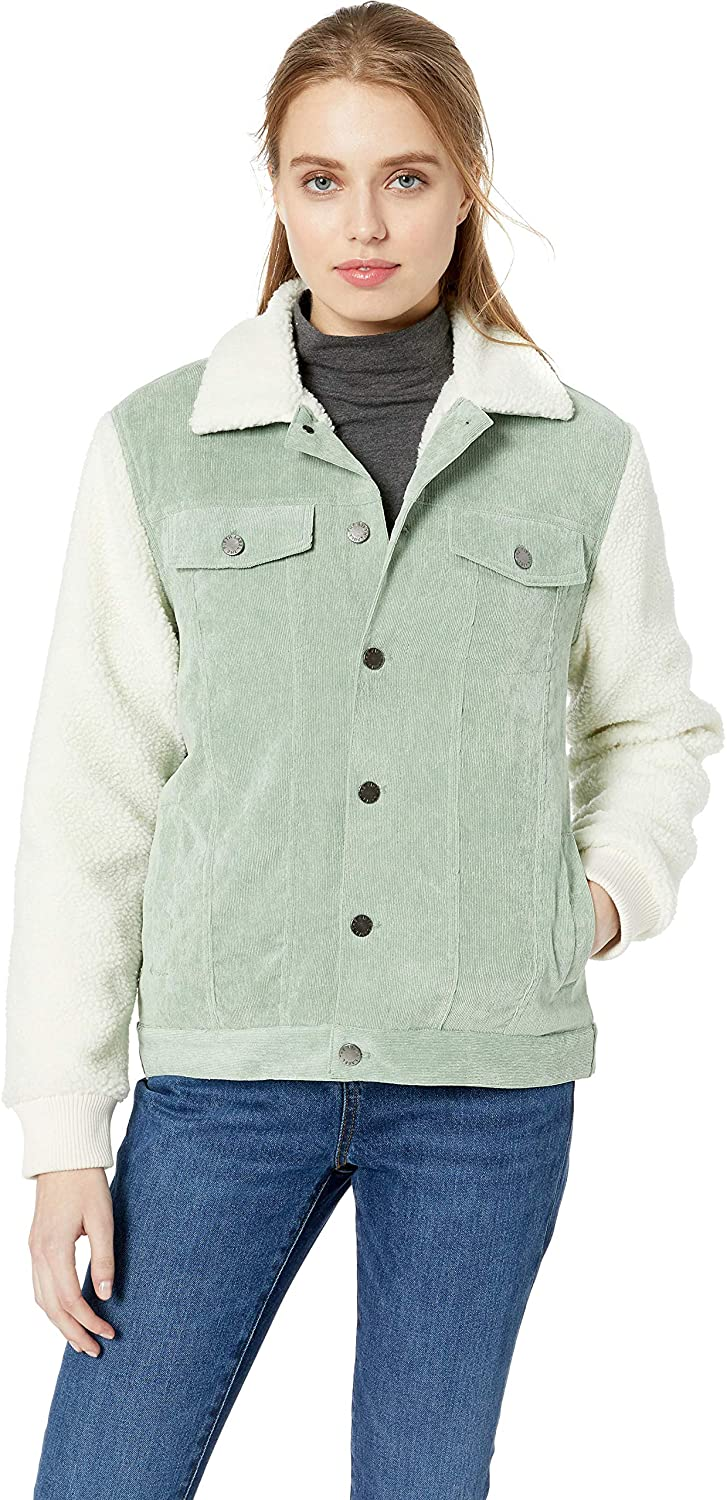 The Fifth Label Women's Philosophy Corduroy & Faux Fur Casual Jacket, sage Ivory