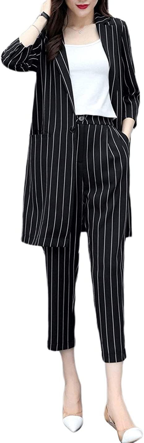 D.B.M Ladies Fashion Intellectual Striped Suit Two-Piece Cropped Pants Suit