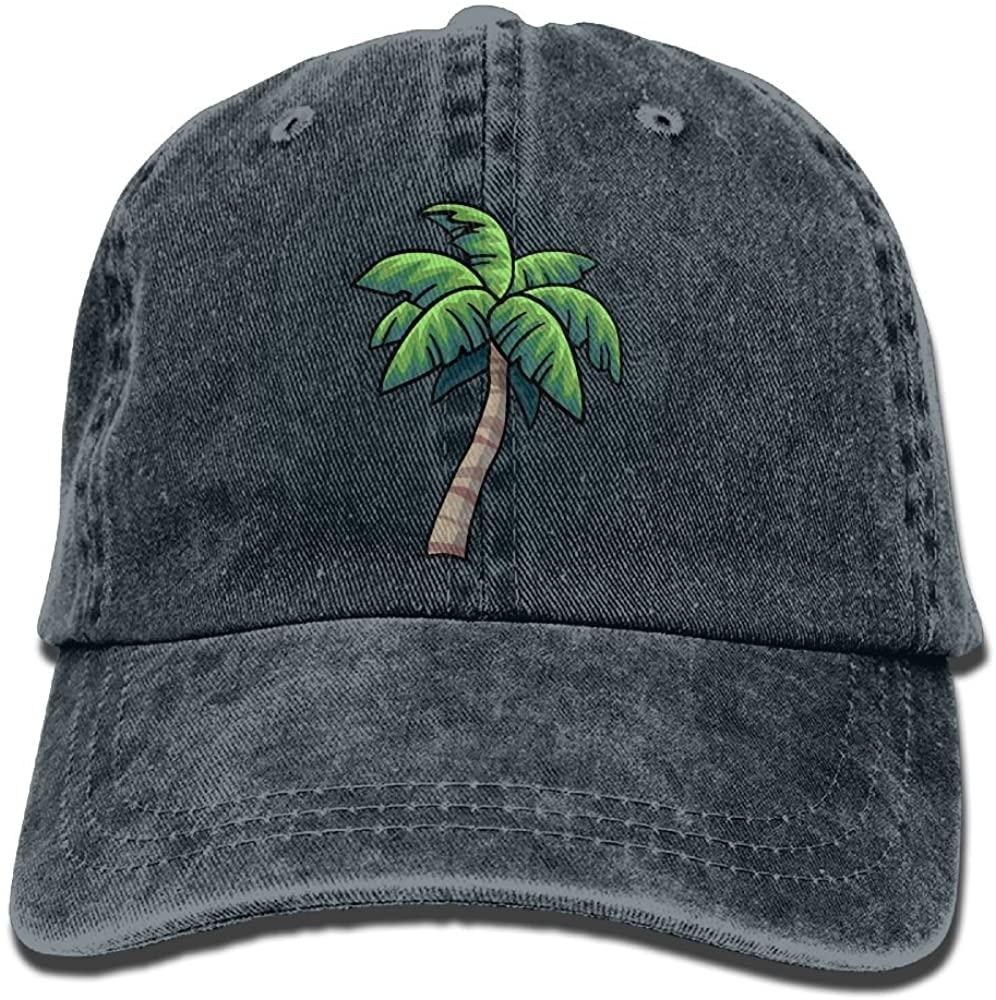 Unisex Baseball Cap Denim Hat Tropical Palm Tree Adjustable Snapback Glacier Cap