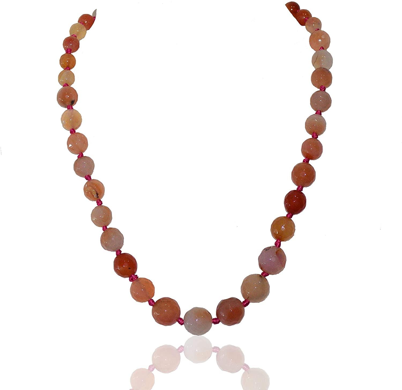 Jewelsimperia Natural Gems Shedded Peach Colour Semiprecious facited Graduation nackless Fashion Beads