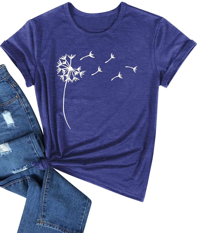Hubery Women Dandelion Pattern Print Casual Summer Tshirt Top Solid Color Tee