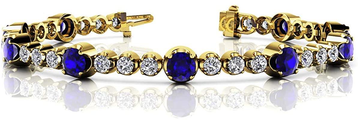 HN Jewels 3.44 Ctw Blue Sapphire & Lab Created Diamonds Tennis Bracelet In 14K Gold Plated Silver 925