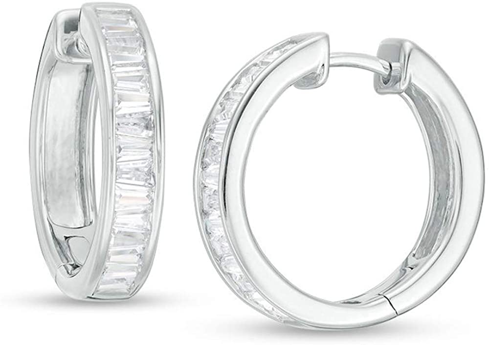 HN Jewels 1-5/8 CT. T.W. Baguette Cut Clear Sim Diamond Hoop Earrings For Womens In 14K White Gold Plated With 925 Sterling Silver