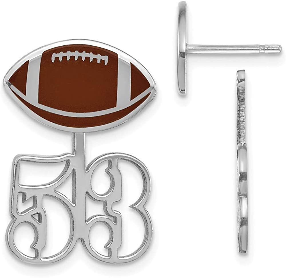 Solid 14k White Gold Large Epoxied Football Earring and Number Jacket - 22mm x 14mm