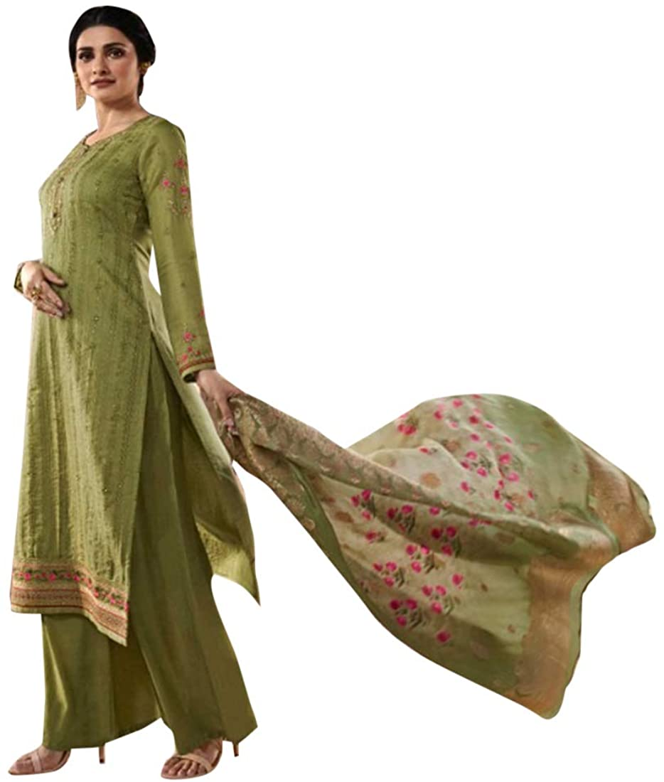 Dusty Green Tussor Silk Salwar Kameez Printed Dupatta Indian Muslim Women Fancy Party wear Suit Custom to Measure 8604