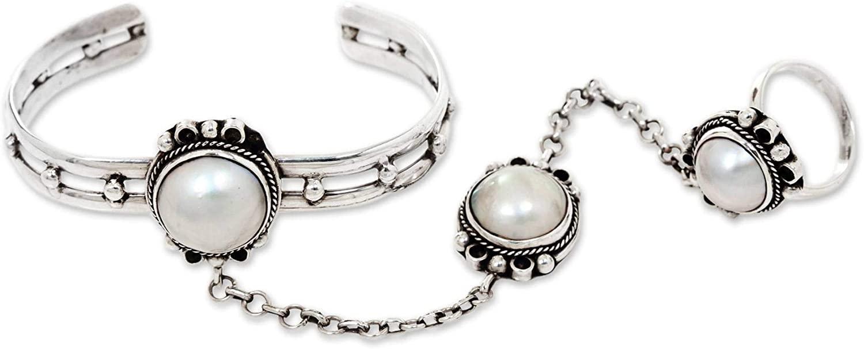 NOVICA Pearl Silver White Cultured Freshwater Pearl .925 Sterling Silver Bracelet 'Mekar Dancer'