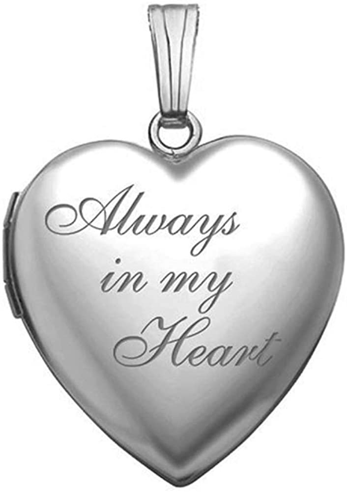 PicturesOnGold.com 14K White Gold Always in My Heart Locket - 3/4 Inch X 3/4 Inch in Solid 14K White Gold with Engraving