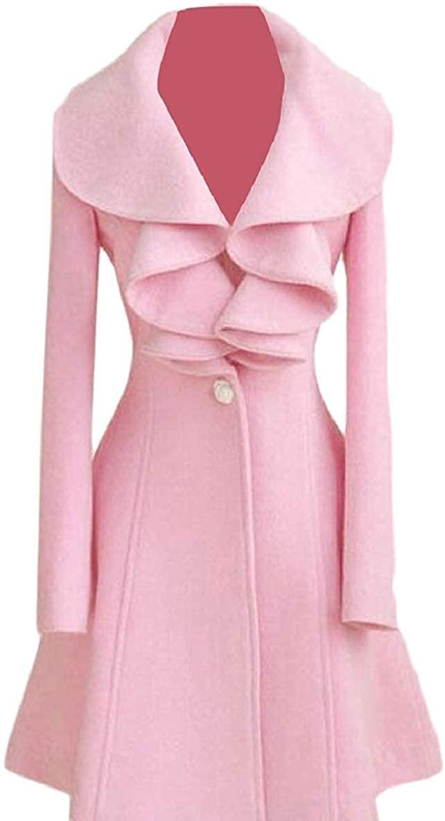 Zeious Womens Autumn Ruffle One Button Slim Fit Wool Coat