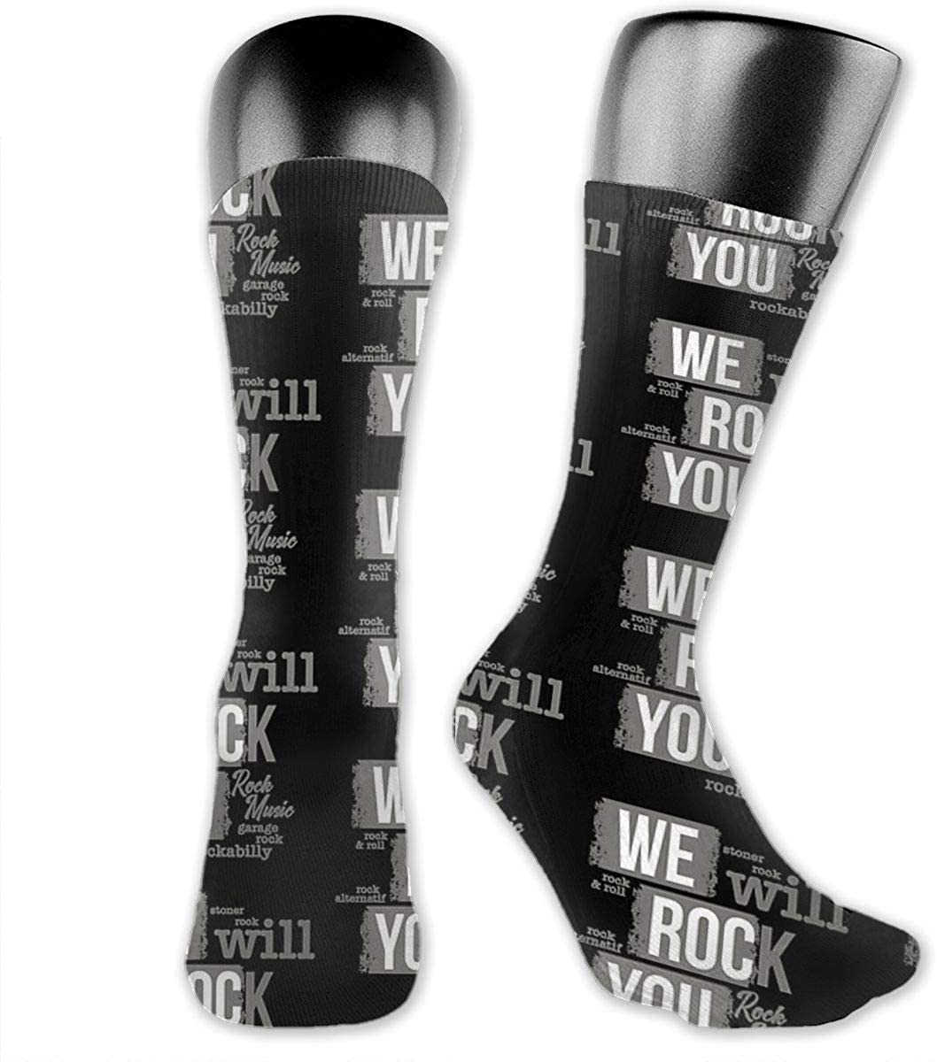 Unisex Crazy Funny Cool 3D Print We Will Rock You Vintage Rock Socks Colorful Athletic Sport Socks Novelty Casual Crew Socks