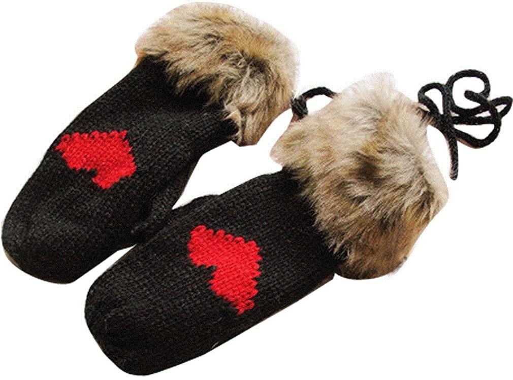 Gaorui Women winter Thermal Gloves Thicken Knitted Faux Fur Hang Neck Strap Mitten