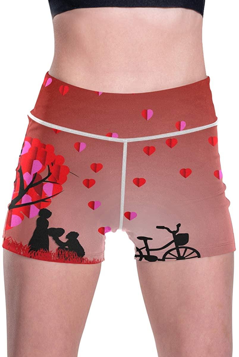 SLHFPX Valentine's Day Romantic Beauty Love Rain Women's High Waist Yoga Shorts Mesh Workout Running Shorts
