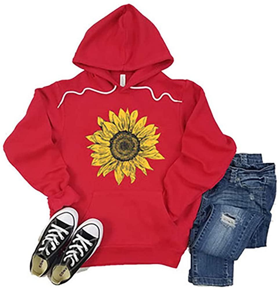 Women Hoodies Pocket Graphic Long Sleeve Pullover Tops Teen Girls Sunflower Floral Sweatshirts S-XXL