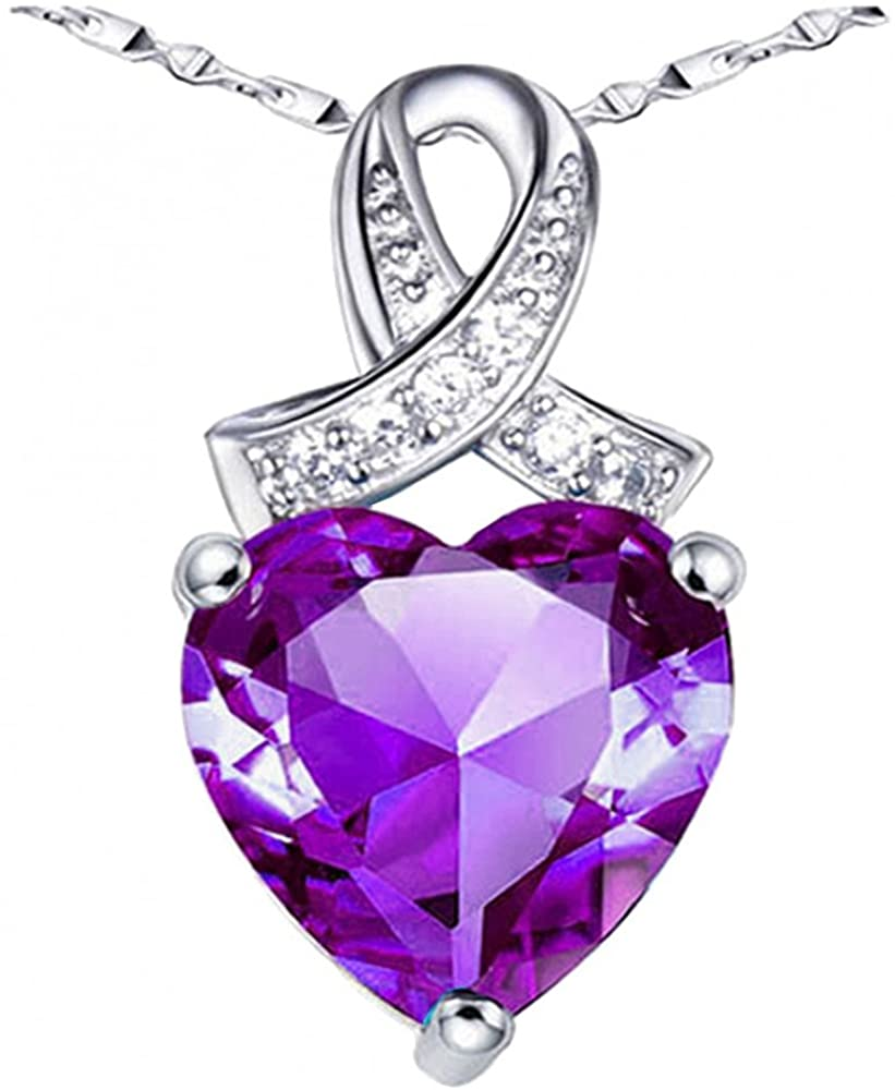 Dividiamonds Infinity Love Heart Pendant Necklace 18k White Gold Finish Heart Cut Purple Amethyst Valentine Special