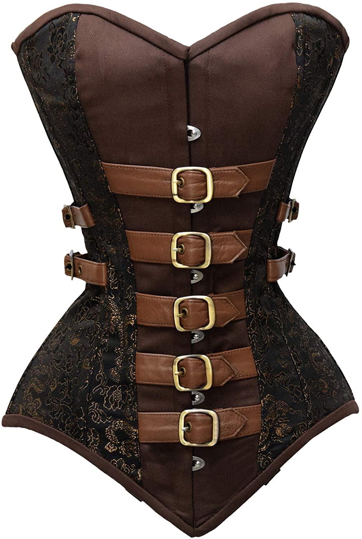 luvsecretlingerie 22 Double Steel Boned Waist Training Brocade & Genuine Leather Long Overbust Shaper Corset #8717
