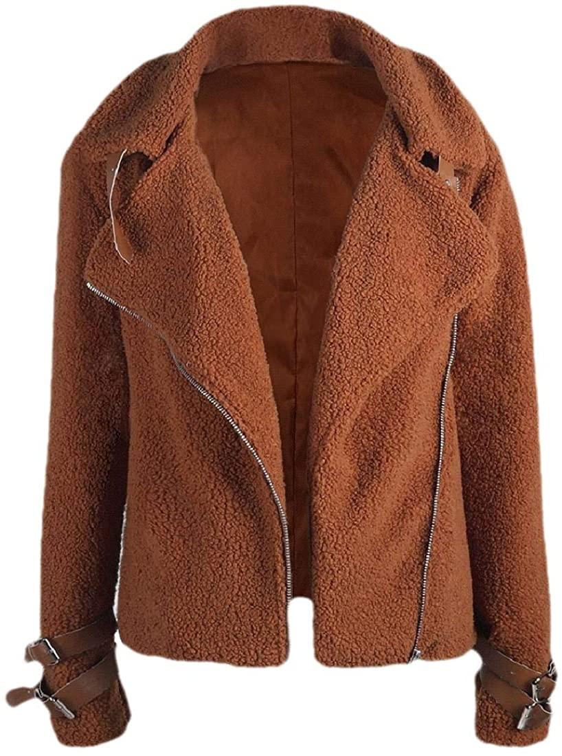 ouxiuli Women Winter Long Sleeve Coat Thicken Warm Lapel Collar Fur Coat Outerwear Overcoat