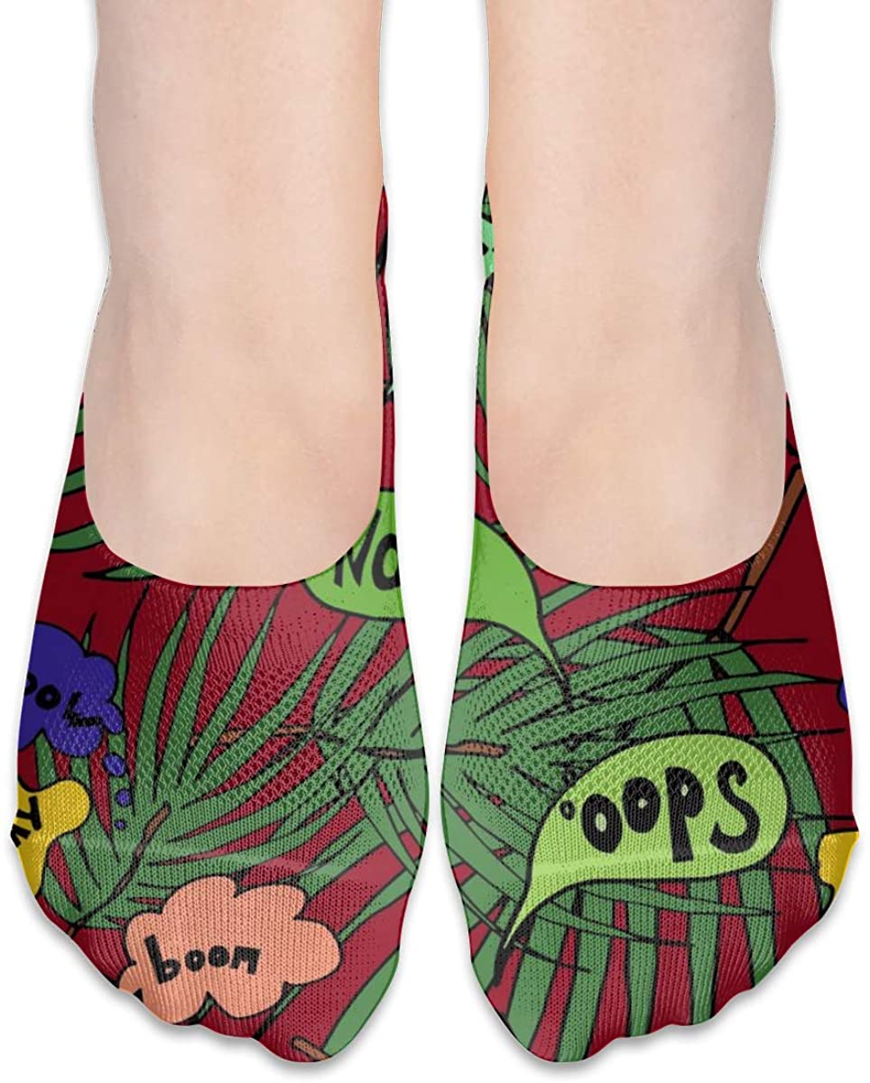 Hawaii Beach Palm Tree Leaves No Show Socks Womens Low Cut Non Slip Short Ankle
