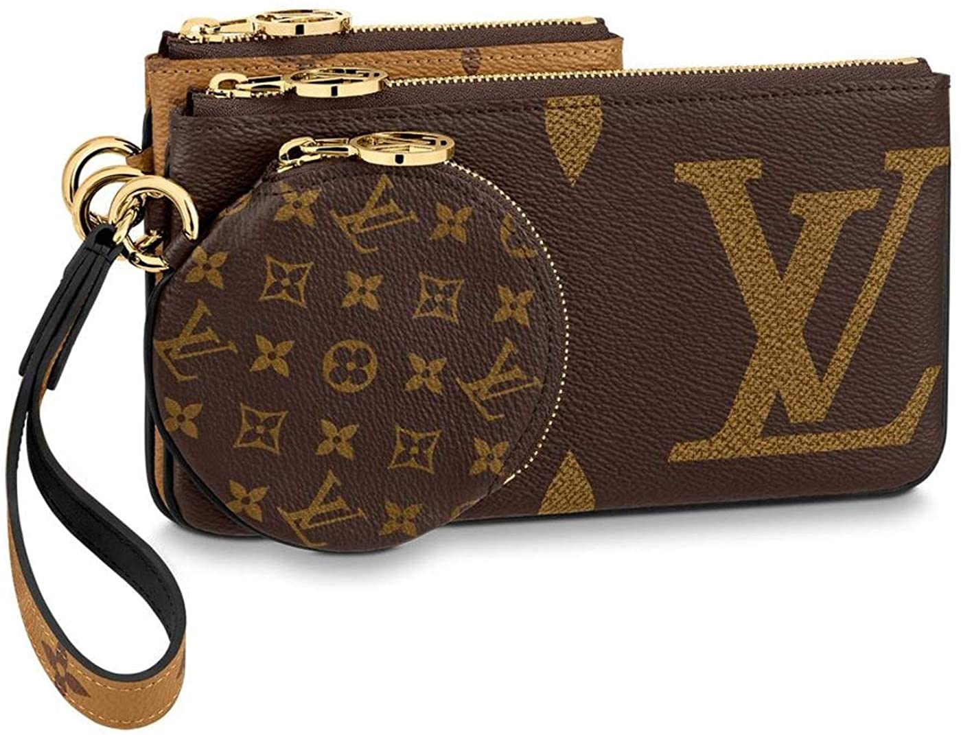 Louis Vuitton Trio Pouch Monogram Giant Reverse Mini Brown Coin Purse