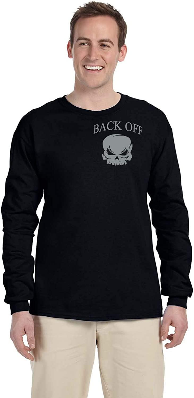 Reflektek Back Off Black Long Sleeve T-Shirt with Silver Reflective Flame Skull