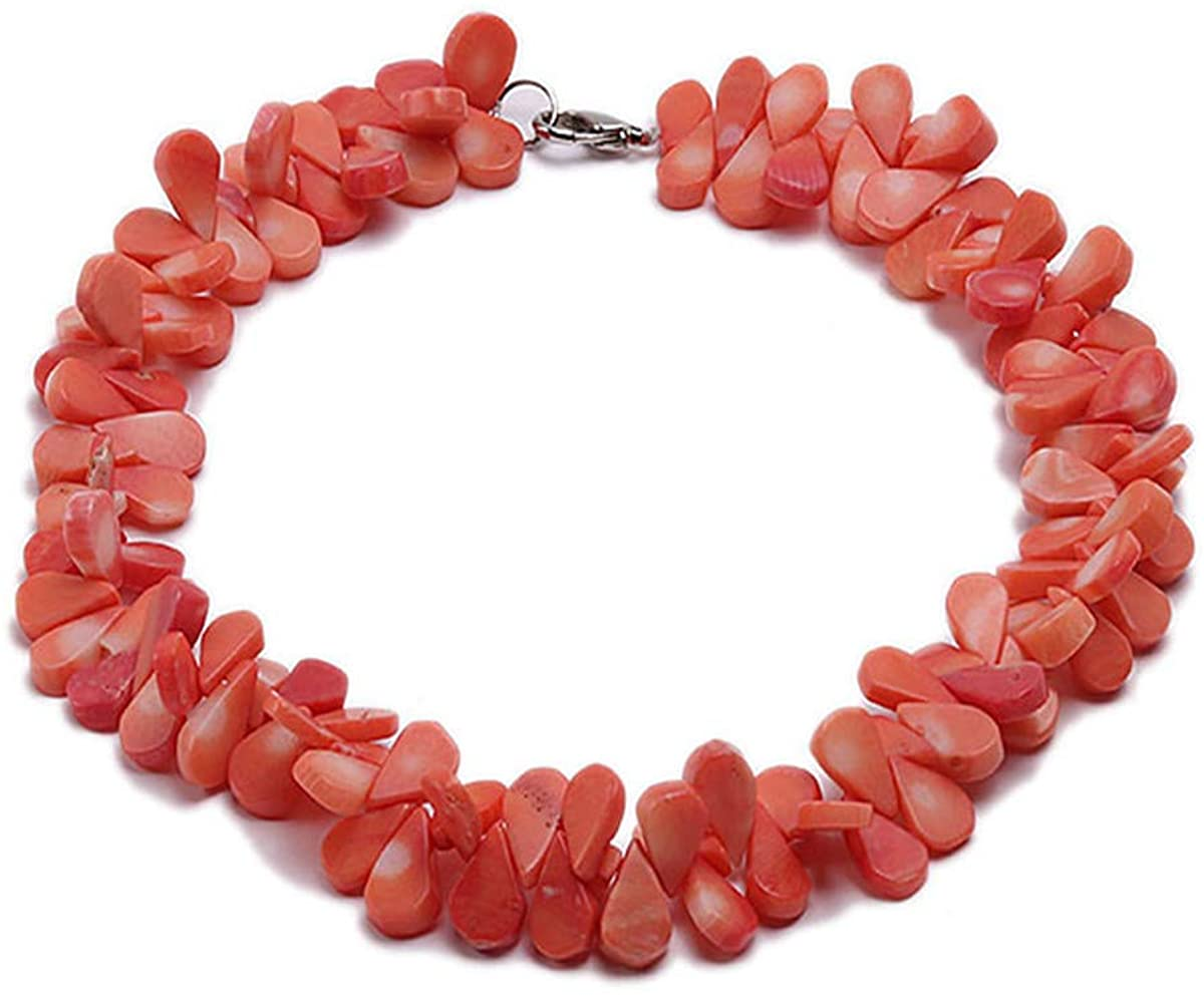 JYX Orange Petal Coral Choker Necklace 12x7x4mm Coral Beads Jewelry For Women 15