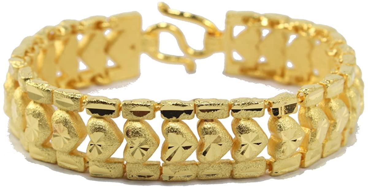 Bangkok Bazaar Beautiful Heart Link Bracelet 6.75 Inch Thai Handmade 24k Gold Plated Jewelry