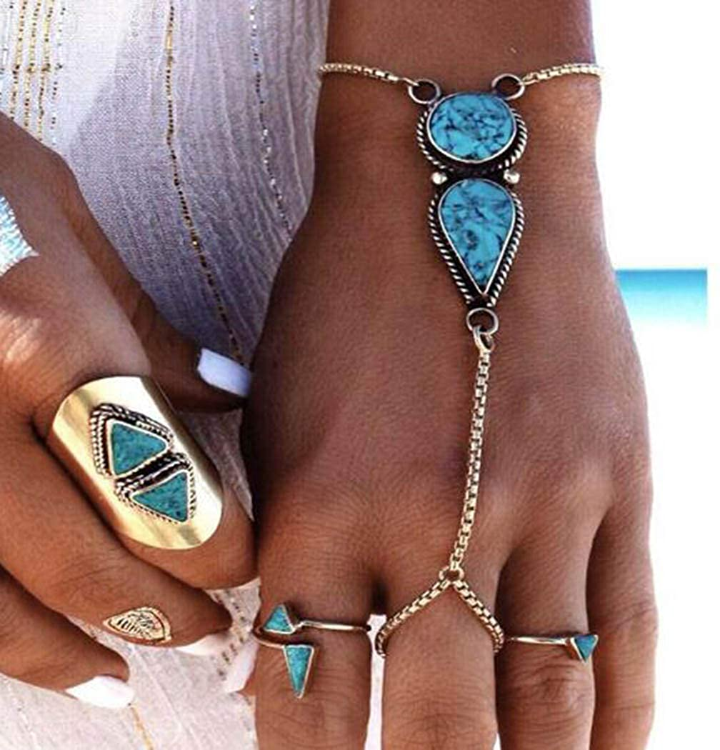 Victray Boho Hand Chains Bracelets Turquoise Finger Rings Stylish Fashion Hand Accessories Jewelry for Women and Girls