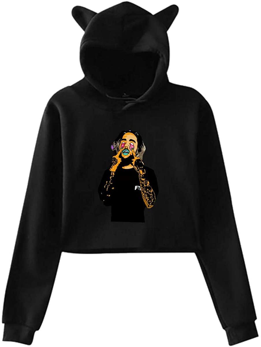 Womens Cat Ear Hoodie Sweater Sweatshirt Suicide Boys Original Minimalist Style Black