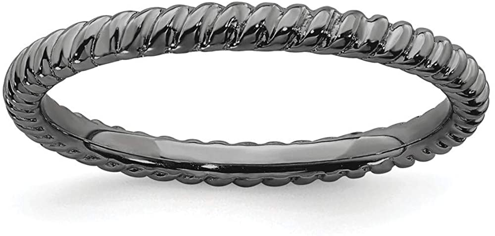 Beautiful Sterling silver 925 sterling Sterling Silver Stackable Expressions Black-plated Twisted Ring