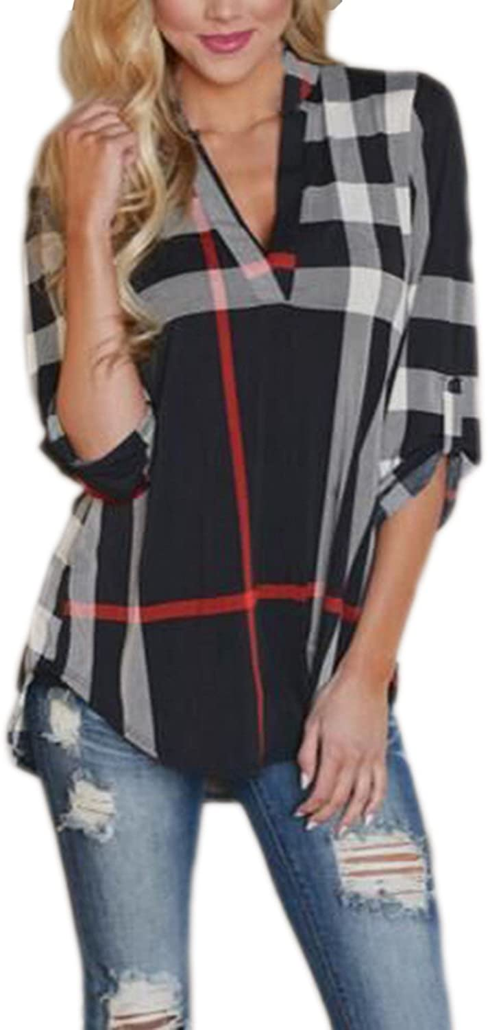 Mansy Womens Casual 2/3 Sleeve V-Neck Plaid Shirts Pullover Top
