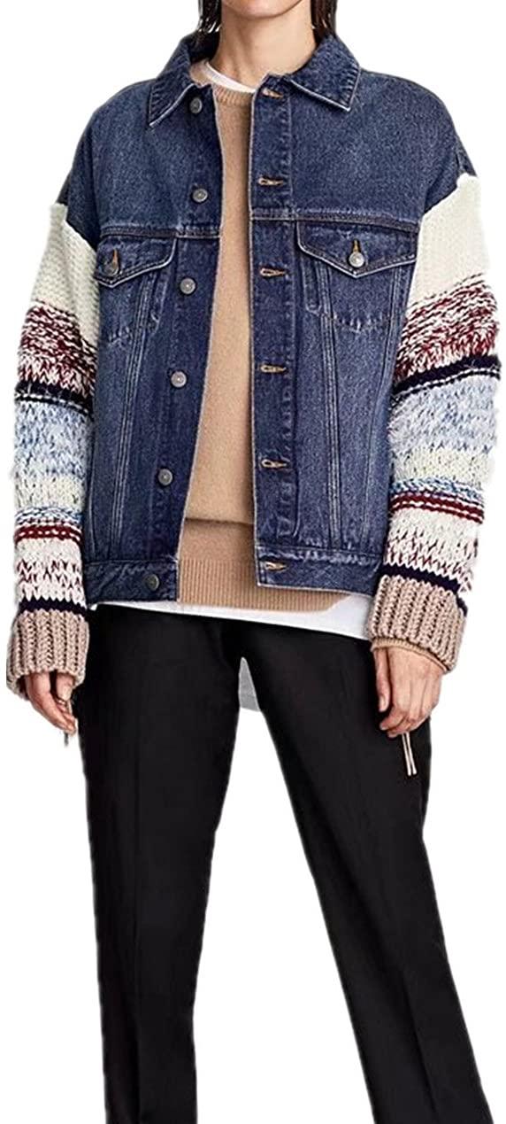 princessdresscode Women Denim Jacket With Contrasting Sleeves