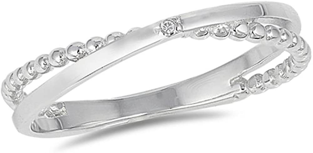 Sterling Silver Cubic Zirconia Stackable Ring, 4mm