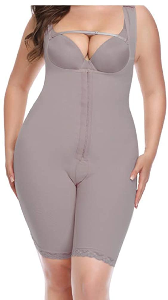 LUCACO Womens Open Bust Full Bodysuits Tummy Hook Control Shapewear Wide Strap Thigh Slimming Body Shaper