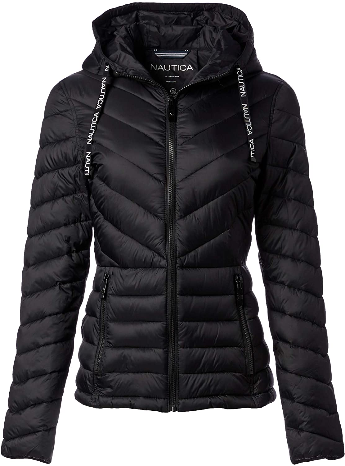 Nautica Women's Short Hooded Packable with Chevron Quiliting