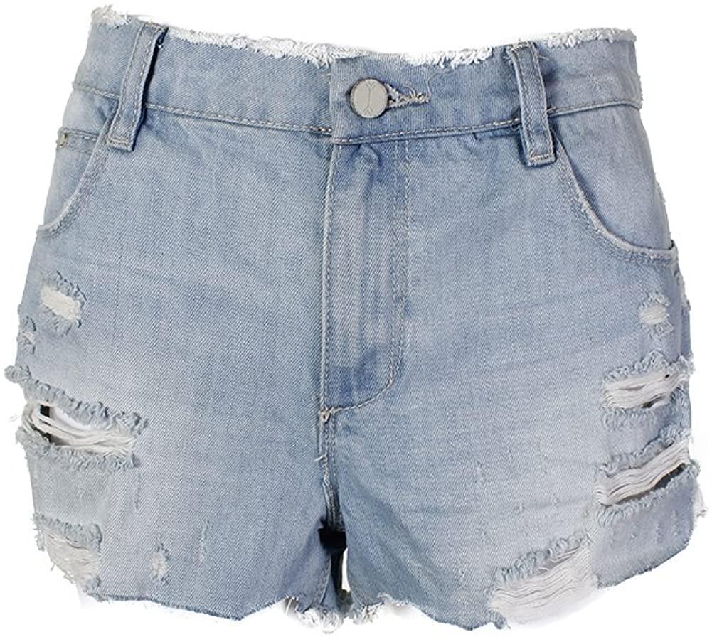 Banjara Womens Destroyed Girlfriend Fit Denim Shorts