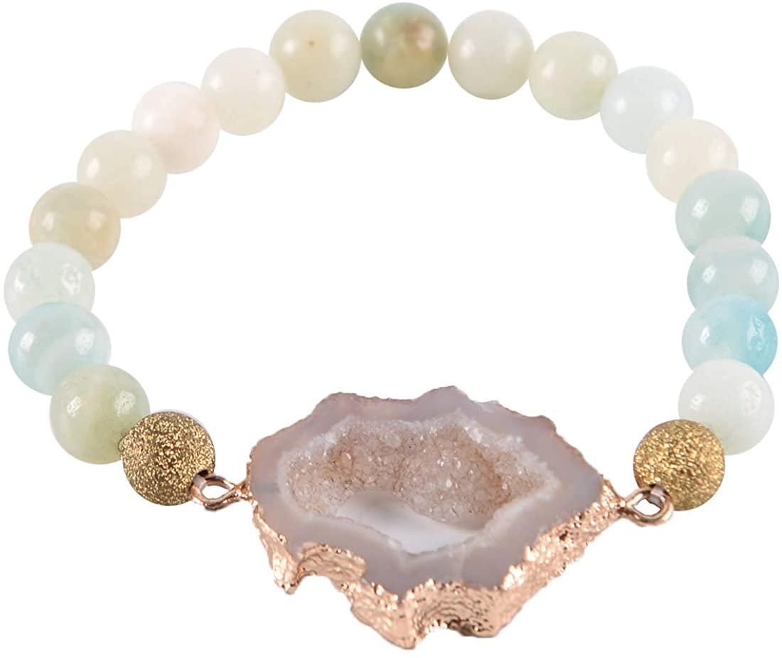 YGLINE Baroque Pearl Leather Cuff Bracelet Multi Strand Wrap Bracelets Magnetic Bohemian Bracelet for Women, Wife, Sister