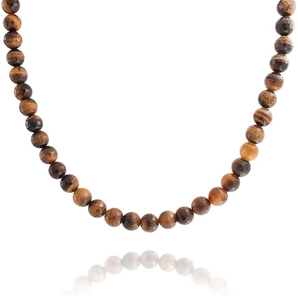 Bling Jewelry Faceted Brown Tiger Eye Round 8MM Bead Strand Necklace for Women for Men Silver Plated Toggle Clasp 18 Inch