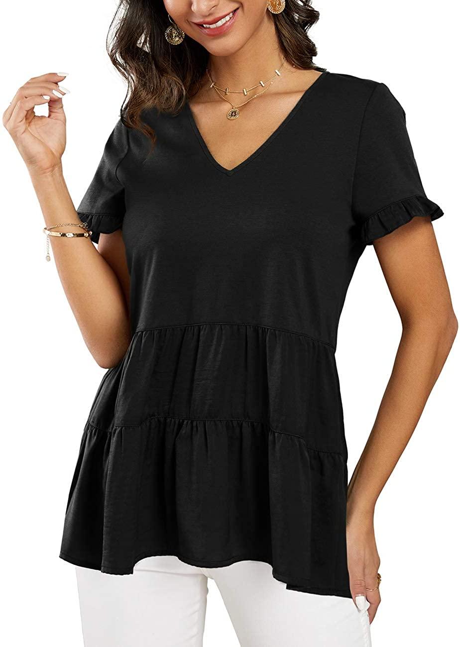 Imily Bela Womens V Neck Peplum Tops Summer Short Sleeve Babydoll Casual Ruffle T Shirt
